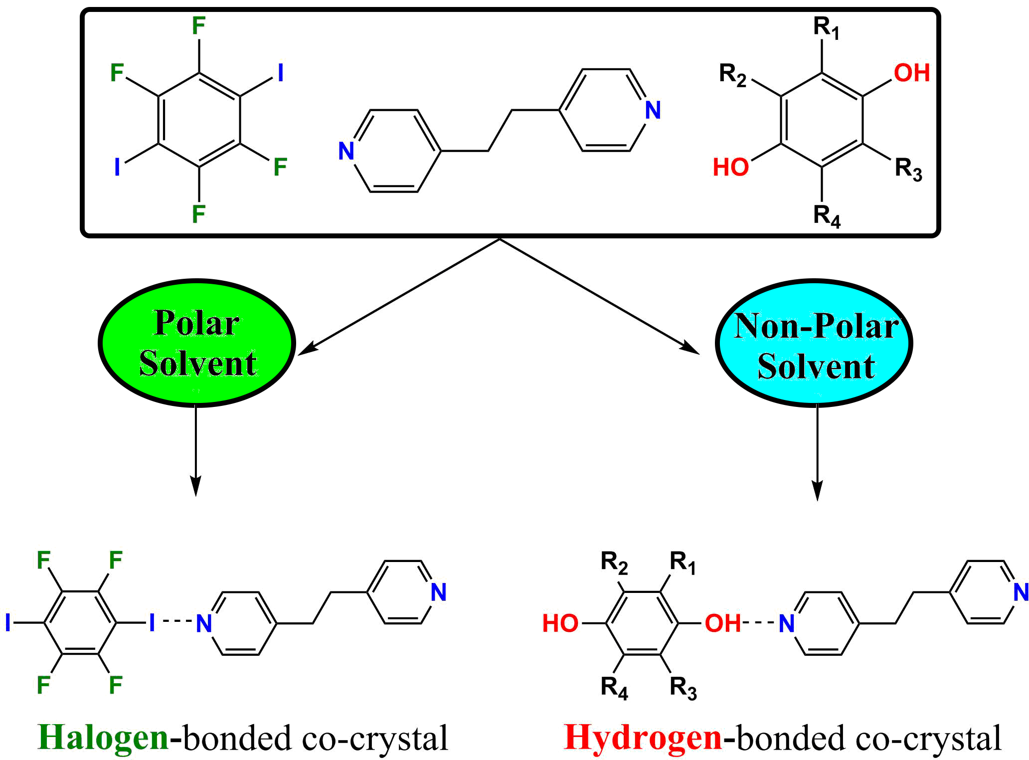 Graphic of solvent controlled intermolecular interactions
