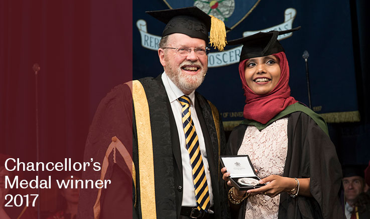 Bioengineering student, Saheela Mohammed, wins the Chancellor's Medal 2017