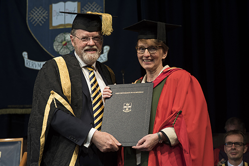 Dr Helen Sharman receiving her honorary award