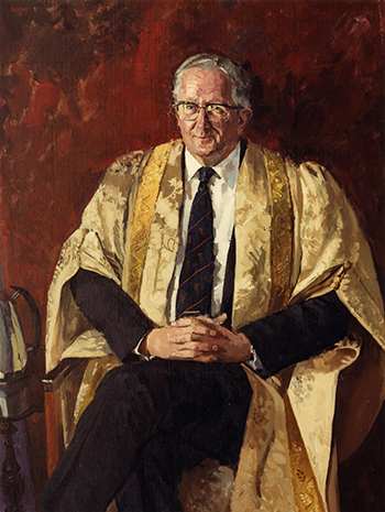 Professor Sims' portrait which hangs in Firth Court