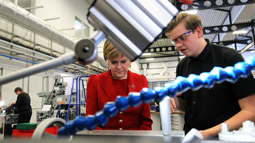 The First Minister of Scotland, Nicola Sturgeon MSP with apprentice