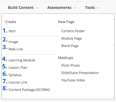 Image of build content menu showing options available. 1. Item, 2. image, 3. web link, 4. Learning Module, 5. Lesson Plan, 6. Syllabus, 7. Course link, 8. Content package (SCORM).