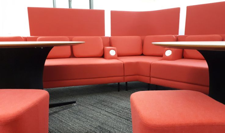 New red seating on Level 1