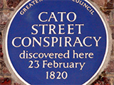 Blue plaque marking site of Cato Street Conspiracy