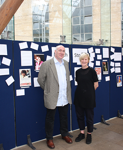 Image of Professor Barry Gibson and Dr Lorna Warren at the Mouth Stories exhibition