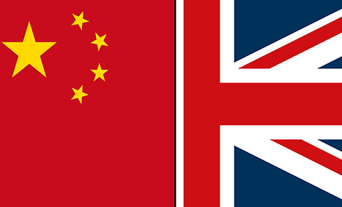Graphic representing the UK and China together as a flag