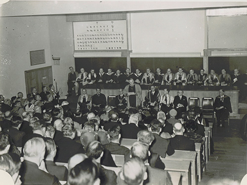 The ceremonial opening of the Dainton Building in lecture theatre 1 of the Main Centre Block, opened