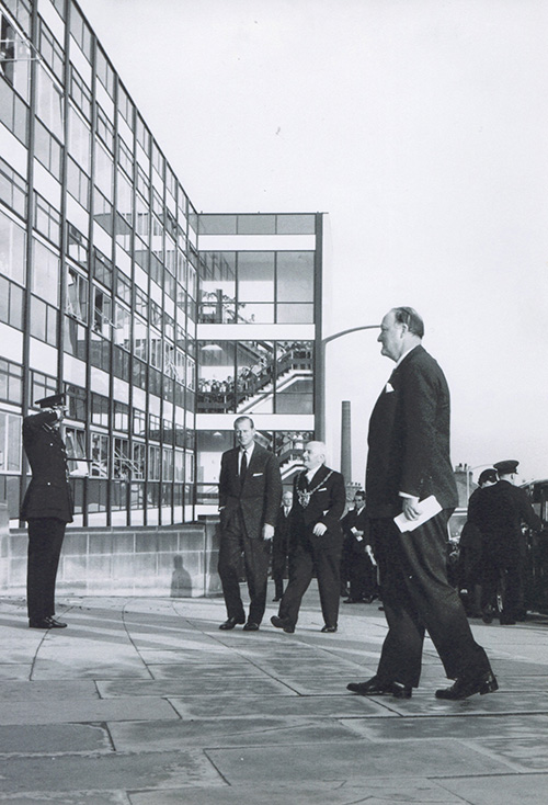 The Duke of Edinburgh's visit to the department in 1971 to formally open the teaching labs.