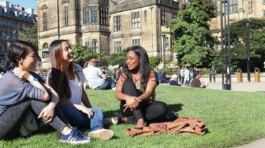 Group of students in Sheffield, Peace Gardens