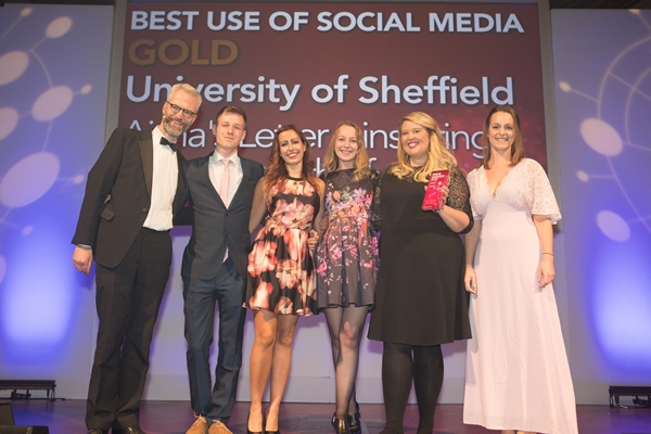 The Media team from The University of Sheffield with their award