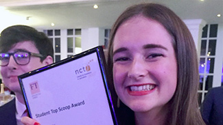 Anna Whittaker with her NCTJ award for top student scoop
