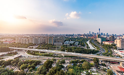 Beijing skyline and High Speed Train