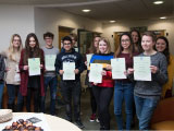 French translation competition winners with their certificates