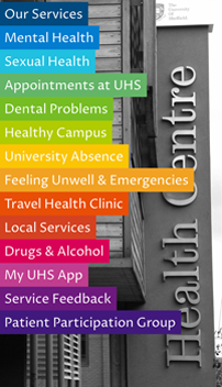 SheffUniHealth App Homepage