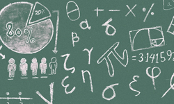 Photo of mathematical symbols on blackboard