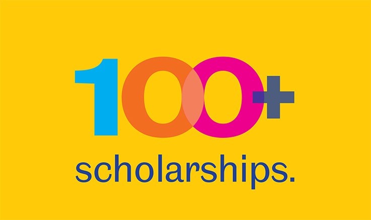 Image with words '100+ scholarships'
