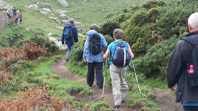 Older people hiking
