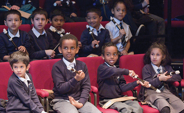School pupils at a classical music concert