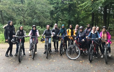 Women from Islamic Society, having a cycle ride