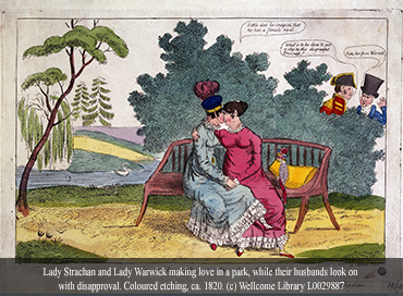 Lady Strachan and Lady Warwick making love in a park, while their husbands look on with disapproval.