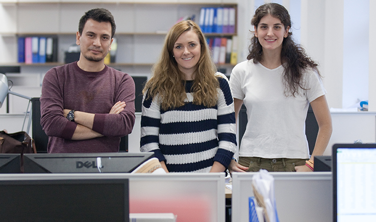 Three PhD students in their department