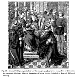 Queen Fredegonde seated on her Throne gives orders to two young Men of Terouanne to assassinate Sige