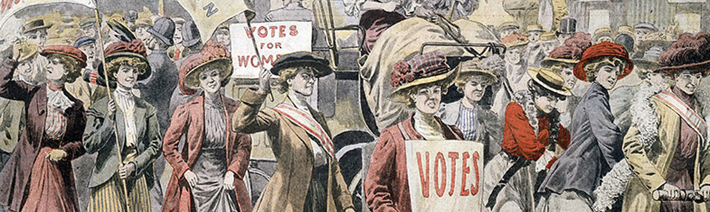 A drawing of a group of suffragists