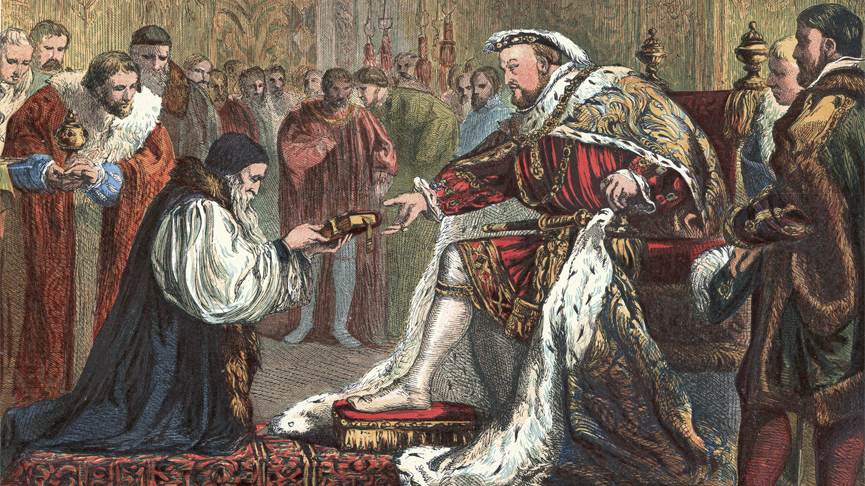 Vintage engraving of Bishop Latimer presenting the Bible to King Henry VIII