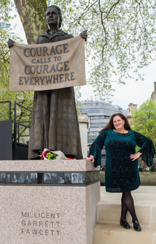 Dr Julie Gottlieb from the University's Department of History with the statue of Millicent Fawcett