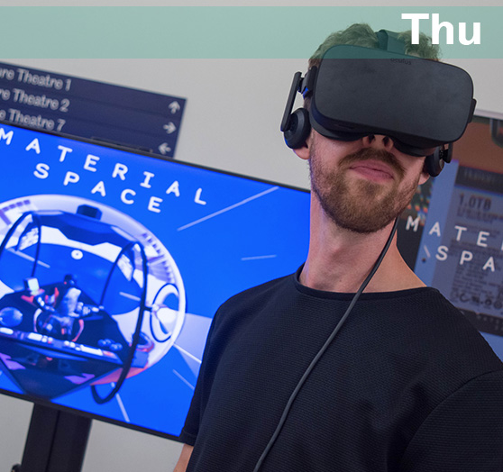A man using Virtual Reality with the caption 'Thu'.