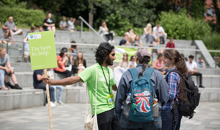 Photo of a busy summer open day at the University of Sheffield