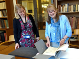 Helen Woolley with Sarah Thiel at the Bodleian Library