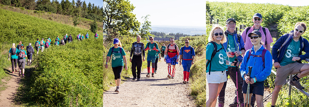 A selection of the walkers passing through Redmires Reservoir