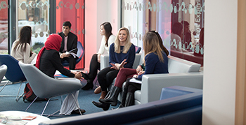 Students holding group meetings in the Management School