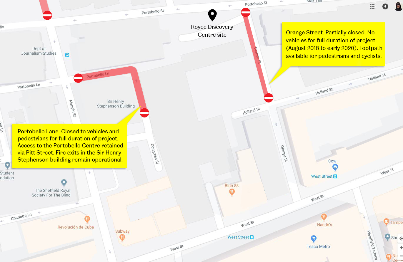 Royce Discovery centre road closures