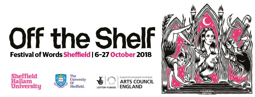 A banner containing the dates for this year's Off the Shelf festival