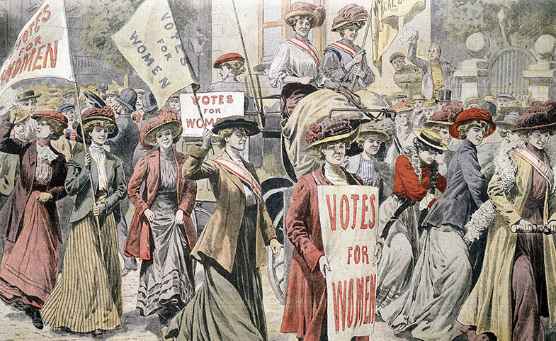 A piece of artwork showing women holding up signs calling for the right to vote