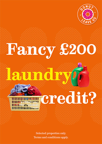 Get £200 laundry credit with our early bird properties