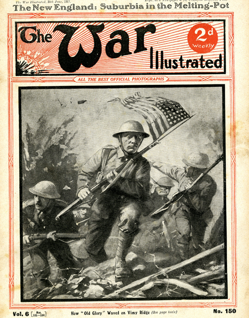An illustration of an American soldier at war