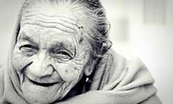 Close up of an elderly woman smiling