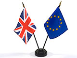 Image of Great Britain flag and EU flag