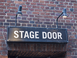 A stage door to a theatre