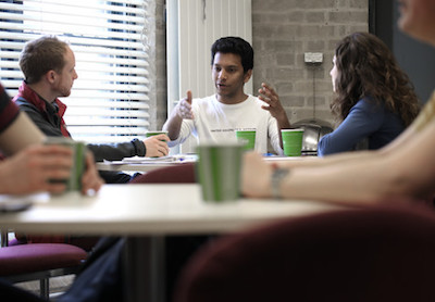 Photograph of students in conversation