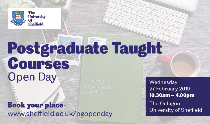 graphics promoting Postgraduate open day on 27th Feb