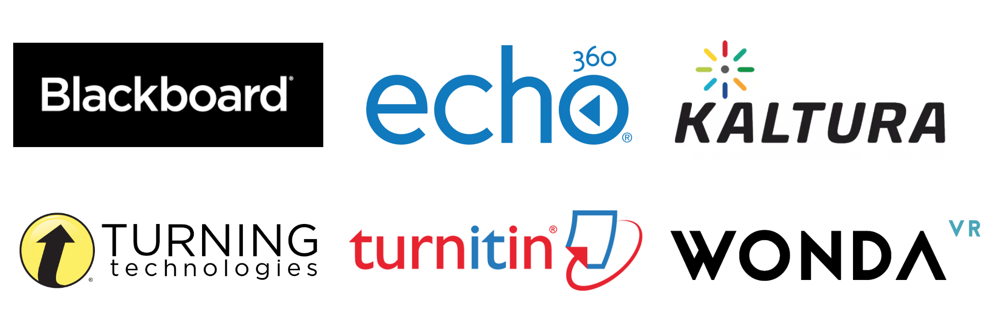 Blackboard, Echo360, Turning Technologies and Turnitin logos