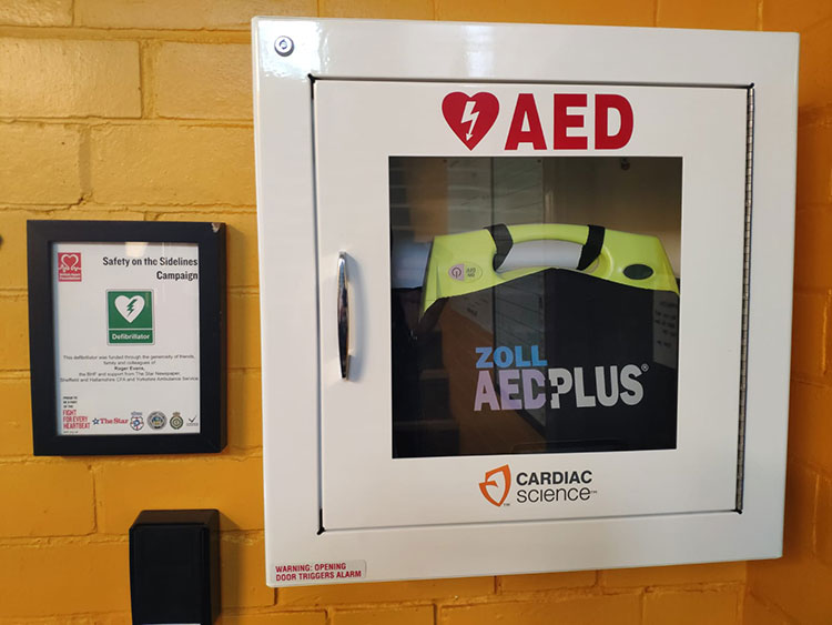AED Sport Sheffield Norton Top Pavilion Closeup