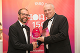 Dr Russell Goodall receives awards for IoM3 Accreditation from Ian Bowbrick