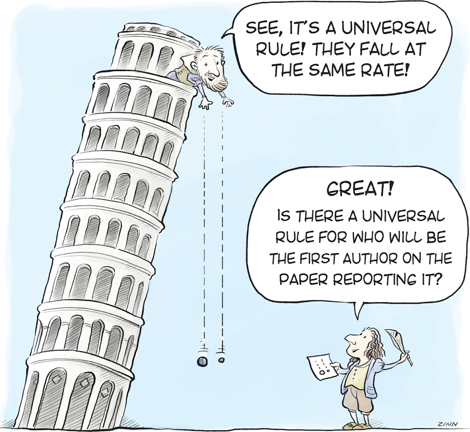 Cartoon of The Leaning Tower of Pisa commenting on authorship disputes