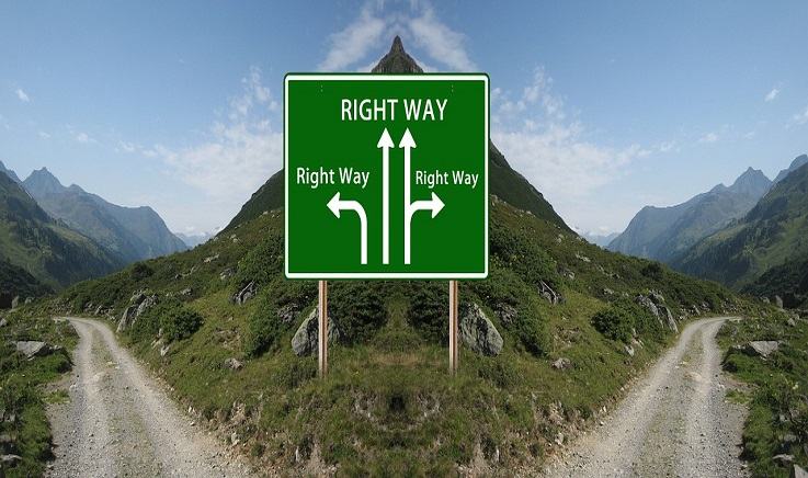 Signpost: every arrow points the 'right way' - time for you to choose
