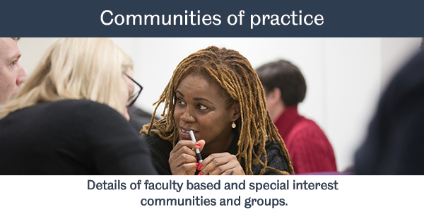 Image button with link to Communities of Practice. Details of faculty based and special interest groups.